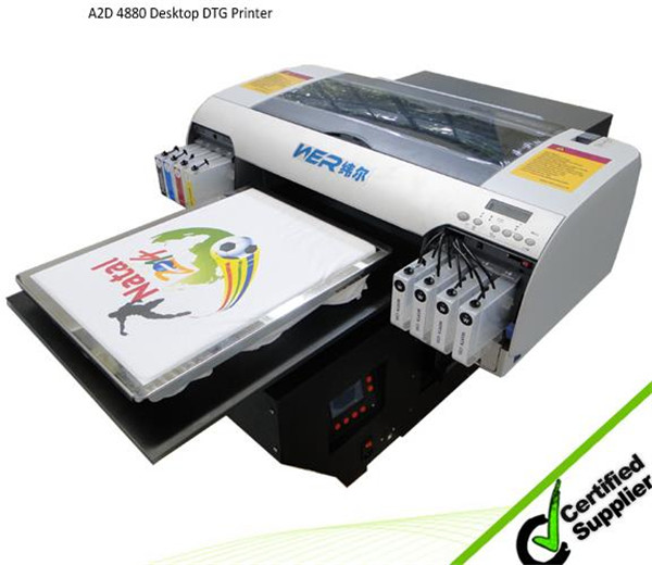 2016 top selling printer A2 WER-D4880T direct to textile T-shirt printer in France